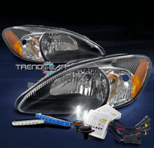 FOR 2000-2007 FORD TAURUS REPLACEMENT HEADLIGHT LAMP BLACK W/BLUE DRL LED+6K HID