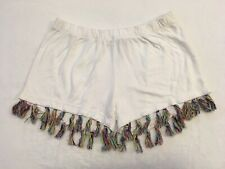 Girls Kids Flowers By Zoe White Shorts Colored Fringe Youth Small S