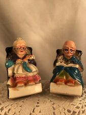 Vtg PAIR Japan Pottery 50-60's Mini Old Woman Man Couple Rocking Chair Banks