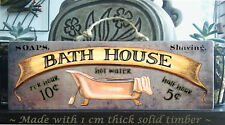 """BATH HOUSE"" - Wooden Rustic Bathroom Plaque / Sign (FREE POST) Dark"