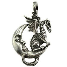 "Midnight Dragon Amulet 1.5"" New Pewter Pendant Fantasy Silver Moon - Us Made"