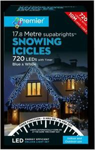 Festive Xmas 720 LED Snowing Icicle Blue and White Christmas Lights with Timer
