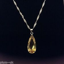 PE 45 Large Yellow 25mm Citrine Pendant & Chain 18k White Gold gf, Plum UK BOXD