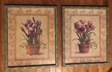"""Home Interiors Iris Amaryllis Flowers Pictures 17.5x21.5"""" Framed Matted 2 Prints"""