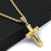"Hip Hop 14k Gold Plated  Crucifix Jesus Cross Pendant 24"" 4mm TCH Rope Chain 2"
