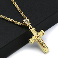 "Hip Hop 14k Gold Plated  Crucifix Jesus Cross Pendant 24"" 4mm TCH Rope Chain 2"