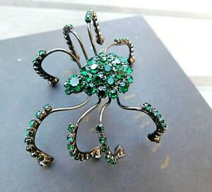 Boxed BURBERRY Green Crystal Stone SPIDER BROOCH Broach