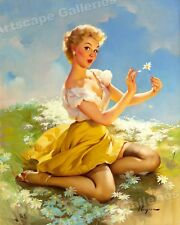 "Elvgren 1955 Pin-Up Girl ""Daisies Are Telling"" Picking Flowers Poster - 24x30"