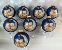 Vintage Krebs Glass Christmas Ornament Lot Teddy Bears Crescent Moon Blue Gold