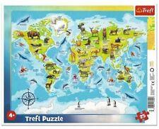 Puzzle ramkowe 25 Mapa świata ze zwierzętami TREFL  ____________________