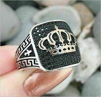 Fashion Woman Man 925 Silver Black Sapphire Crown Ring Wedding Jewelry Size 6-10