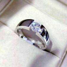 Men's Solid 14k White Gold Band Wedding Ring 1Ct Brilliant Moissanite Round Cut