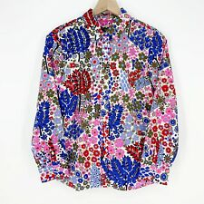 Women Talbots Petites Floral Classic Cotton Button-Front Long Sleeve Shirt Sz PM