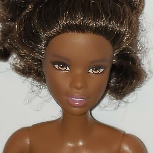 Nude Barbie Doll Made to Move Body Brunette African American Fully Articulated