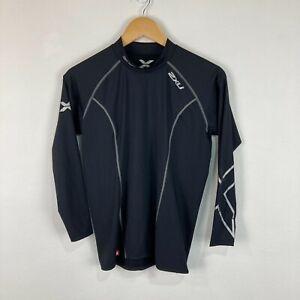 2XU Mens Compression Shirt Size L Super Slim Fit Black Long Sleeve Round Neck
