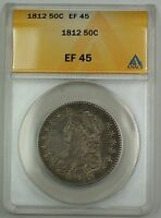 1812 Capped Bust Silver Half Dollar Coin 50c ANACS EF-45 GBr