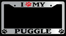 Chrome Metal License Plate Frame I Heart My (Paw) Puggle Auto 535