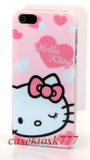 for iPhone 5 5S hard back case cover pink w/ heart kitty kitten+screen protector