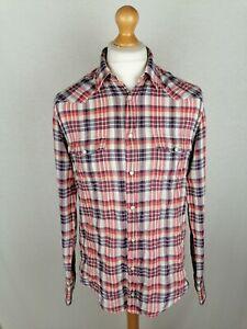 "Mens Hugo Boss Orange ""Eda"" Long Sleeve Shirt Size Medium Slim Fit Check"
