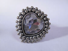 Large Silver Tone Heart Shaped Stretch Ring Jewel Statement