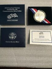 2010 American Veterans Disabled For Life UNC Silver Dollar W Mint Mark OGP COA
