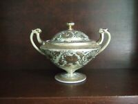 Antique Hand painted Gold Encrusted Nippon Double Handle Sugar Bowl + Lid 24K