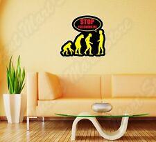 "Stop Following Me Monkey Evolution Wall Sticker Room Interior Decor 25""X20"""