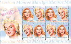 MODERN GEMS - Sierra Leone - Marilyn Monroe - Sheet of 8 - MNH