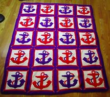 crochet afghan throw blanket anchors sailor patriotic red white blue nautical