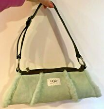 AUTH. UGG Australia Baguette Handbag TEAL/GREEN In Suede Shearling TOP ZIPPER