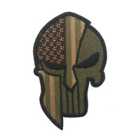 Embroidery Spartan Skull USA America Flag Hook Loop Patch Backing Fastener Badge