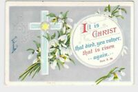 ANTIQUE POSTCARD EASTER CLAPSADDLE? RELIGIOUS CROSS FLOWERS SILVER EMBOSSED HOLY
