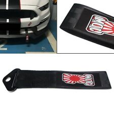 Black JDM High Strength Racing Tow Strap Set for Front Rear Bumper Towing Hook