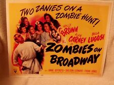 """1945 """"Zombies on Broadway"""" Title Lobby Card 11 X 14 Bela Lugosi Horror Comedy"""