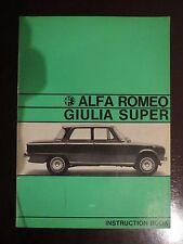 Alfa Romeo Giulia Super Instruction Book- English