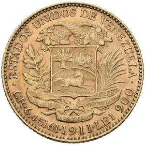 ☆ ☆ VENEZUELA 1911 ☆ 20 BOLIVARES • GOLD 0.900 • PARIS ☆ 21 mm • KM# Y#32 ☆C5858