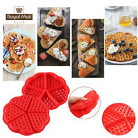 Waffles Silicone Mould Pan Cake Baking Baked Muffin Cake Chocolate Mold Tray Red