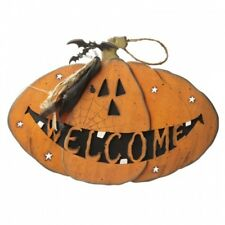 Heaven Sends Large Halloween Pumpkin Welcome Sign - Hanging Halloween Plaque