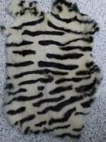 1X Dyed Zebra Rabbit Skin Pelt Real Fur Animal Training Crafts Fly Tying LARP