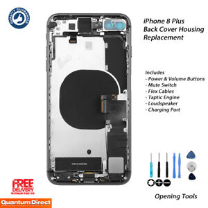 NEW iPhone 8 Plus Fully Assembled Back Cover Housing with ALL Parts - SPACE GREY