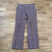 Vintage 70's Daks London Plaid Polyester Flare Pants 33x31 Hippie Mod Talon Zip