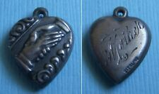 """Mother"" sterling charm Vintage handshake puffy heart"