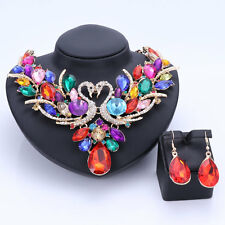 Women Costume Colorful Rhinestones Crystal Swan Necklace Earrings Jewelry Sets