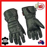 Motorcycle Motorbike  Gloves Mens Thermal Leather Waterproof  Cruiser Biker Blk
