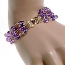 Amethyst Gold Bracelet Oval Gems Triple Chain 14k Clasp