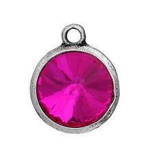 2 Hot Pink Rivoli Charms, Crystal Glass in Silver Bezel, 21x17mm, chs2691