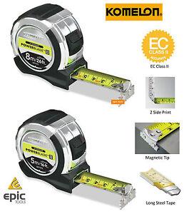 KOMELON Soft Grip 5m/16ft Or 8m/26ft PowerBlade HI VIZ Magnetic End Tape Measure