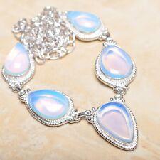 "Handmade Rainbow Opalite Jasper Gemstone 925 Sterling Silver Necklace 20"" N01032"