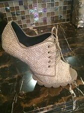 Pollini lace up boots with peep toe