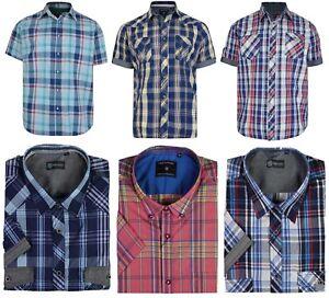 Mens Kam Short Sleeve Shirts Cotton Big King Size Casual Checked Shirt 2XL-8XL